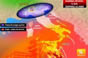 METEO / tripudio di temporali al Nord, caldo afoso di Hannibal al Sud [VIDEO]