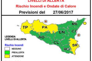 Avviso di allerta rischio incendi e ondate di calore per il giorno 28.06.2017- Rischio Incendi: Pericolosità media, preallerta
