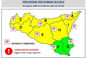 Allerta Meteo con Codice Giallo  Domani 20.03.2018 a Catania, il Comune raccomanda Prudenza