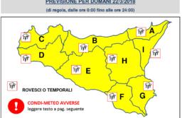 Allerta Meteo con Codice Giallo  Domani 22.03.2018 a Catania, il Comune raccomanda Prudenza