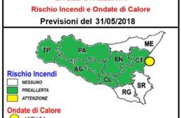 Avviso di allerta rischio incendi e ondate anomale di calore per il giorno 31.05.2018